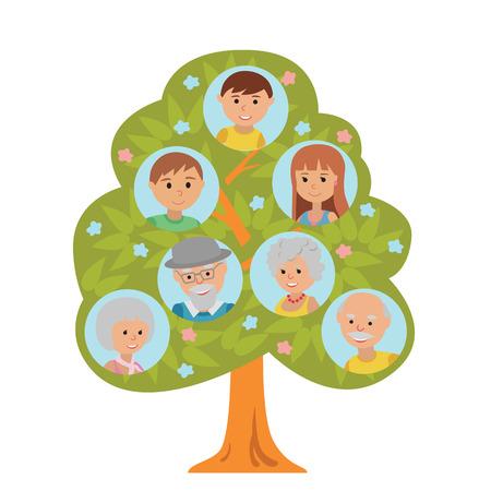 Cartoon generation family tree illustaration isolated on white background. Family tree in flat style grandparents parents and little boy. Illustration