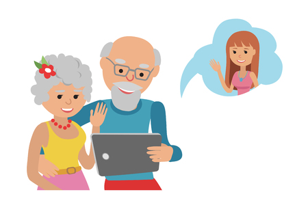 woman tablet: Family vector illustration flat style people online social media communications.
