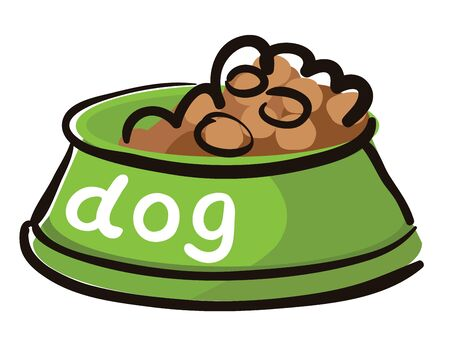 granules: Vector illustration on a white background. Dog food.