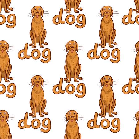 pet breeding: Vector illustration seamless background of pets. Happy dog