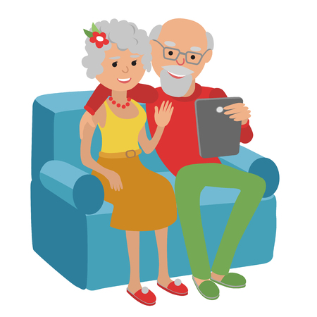 video call: Happy senior man and woman sitting on the sofa read e book and rest. Illustration