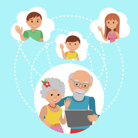 Family vector illustration flat style people faces online social media communications. Man woman parents grandparents with tablet phone. Content and humans connected via chat share like e-mail. Illustration
