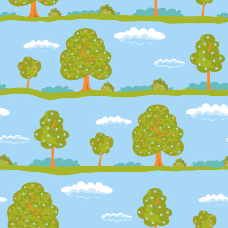 white clouds: Seamless background summer landscape green trees and blue sky with white clouds. Illustration
