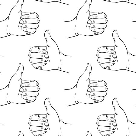 thumb print: Seamless pattern hand showing symbol like. Making thumb up gesture. Drawn design element. Vector black and white illustration. Illustration for web, poster, print Illustration