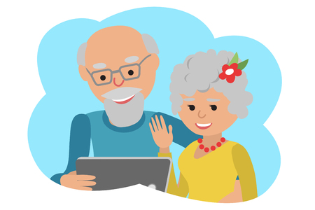 video call: Happy senior man and woman with tablet. Vector illustration cloud icone Illustration