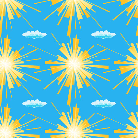suns: Vector illustration of yellow suns and clouds on a blue background.