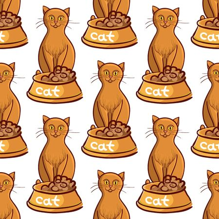 night vision: Cat with bowl food on white background vector drawing Illustration