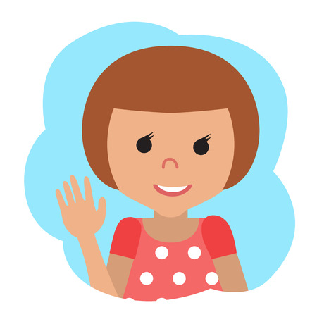 wave hello: Vector drawing of icon little girl in the cloud, waving his hand. Hello gesture.