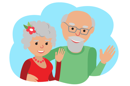 Happy senior couple waving his hand. Vector drawing in cloud communication icone. Hello gesture. 일러스트
