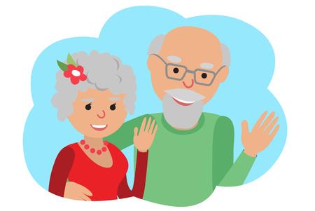 Glückliche ältere Paare, winkte mit der Hand. Vektor-Zeichenprogramm in Cloud-Kommunikation icone. Hallo Geste.