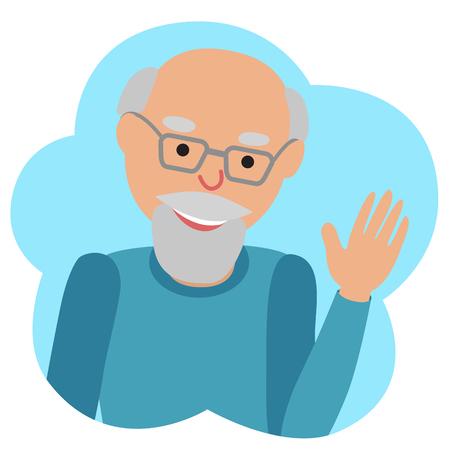 Illustrazione vettoriale di icona uomo anziano nella nuvola, agitando la mano. Ciao gesto. Archivio Fotografico - 61304503