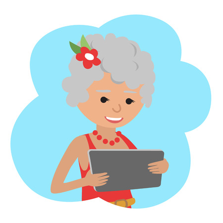 Vector illustration of happy senior woman use tablet in hands.