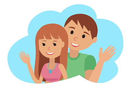 Couple younger man and woman in cloud vector illustration icon.