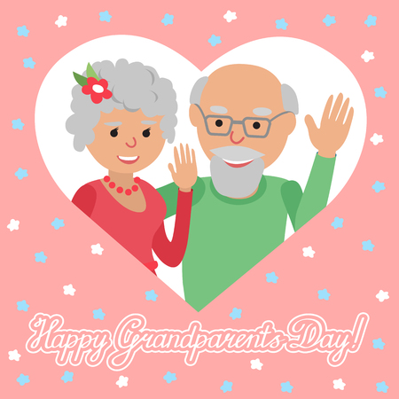 felicitation: Couple of elderly people. Grandmother and grandfather. Vector illustration for greeting.
