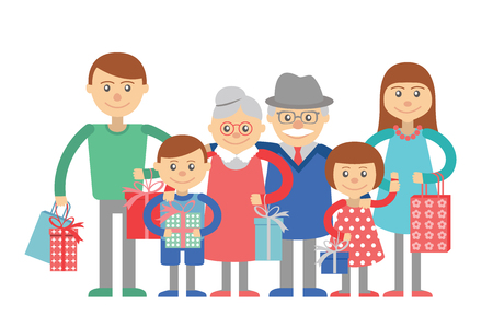 family holiday: Family vector illustration flat style people, mother, father, daughter, son, grandparents, grandmother, grandfather, isolated on white background. Big family on holiday shopping with bags and gifts boxes. Illustration