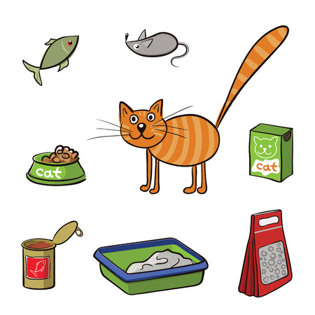 toy toilet bowl: Striped cat and accessories for care. Vector illustration Illustration