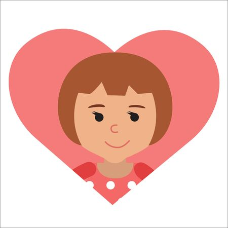 Vector drawing icon little girl in the pink heart