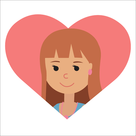 acquaintance: Vector drawing of icon woman in the heart