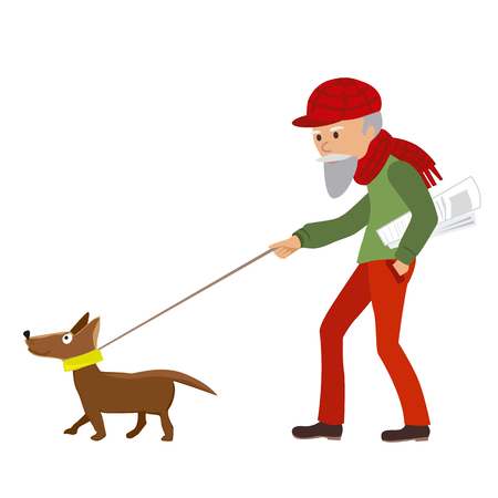 Elderly man walking with his dog. Vector illustration on white background.