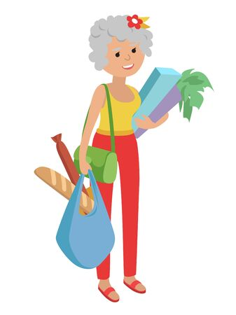 Vector illustration elderly woman carrying bags groceries isolated white background Illustration