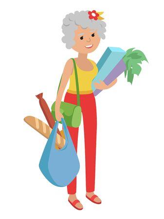 Vector illustration femme âgée portant des sacs d'épicerie isolé fond blanc Banque d'images - 61304614