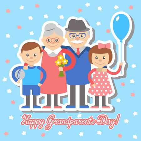 grandchildren: Grandmother and grandfather and grandchildren greeting card for grandparents day. Illustration