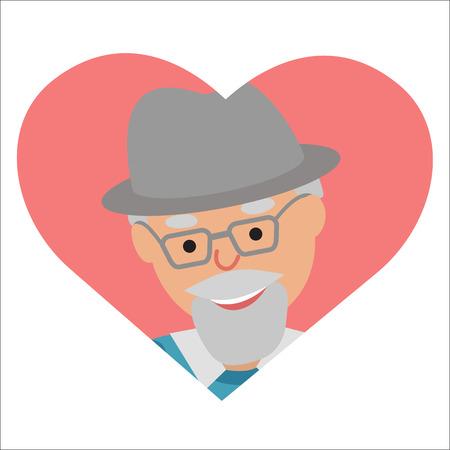 Disegno vettoriale di icona uomo anziano nel cuore Archivio Fotografico - 62228044