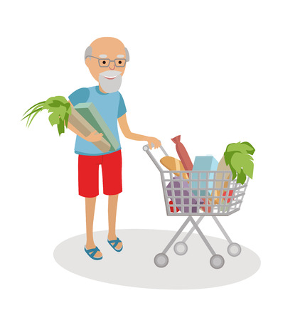 Senior man with shopping cart full of food. Grandfather on market.