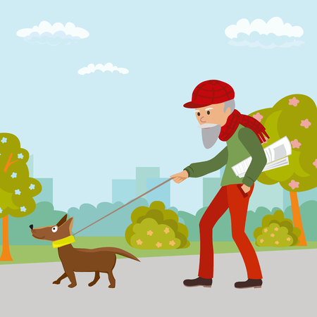 Elderly man walking with his dog in the park. Vector illustration on white background.
