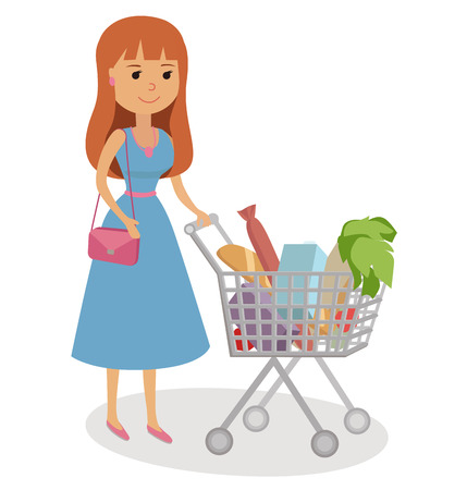 basketful: Woman pushing supermarket shopping cart full of groceries. Flat style vector illustration.