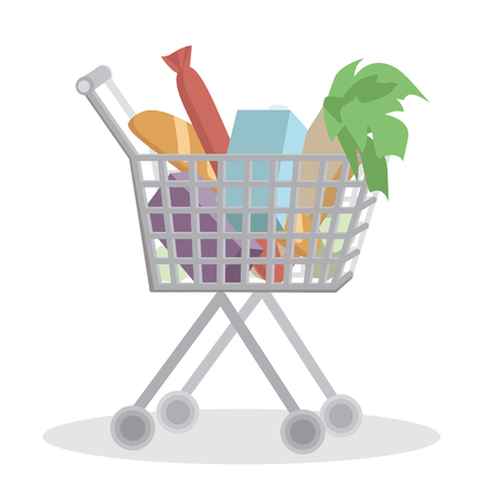 bought: Shopping cart full with groceries on white background