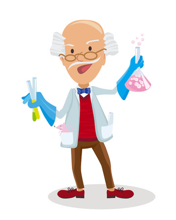academia: Vector illustration of Cartoon Scientist doing experiments Illustration