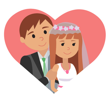 Bride and groom. Portraits of the bride and groom in heart illustration for wedding. Illustration