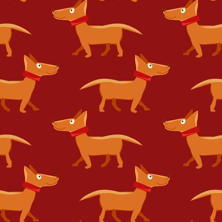 doggies: Vector illustration of seamless pattern with repeating dog on red background