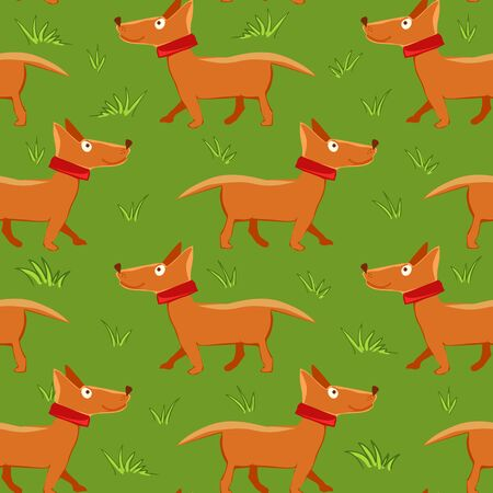 pet breeding: Vector illustration of seamless pattern with repeating dog green grass background Illustration