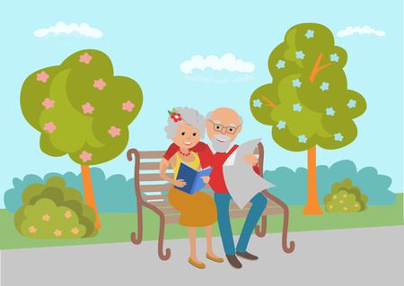 old newspaper: Elderly couple sitting on the park bench and read. Vector illustration.