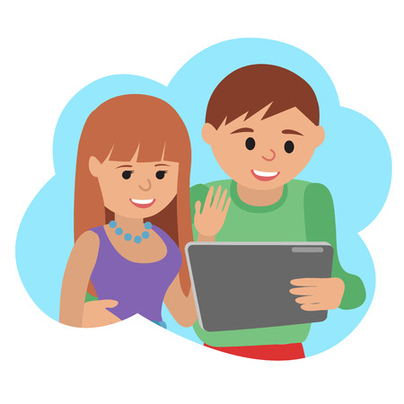icone: Happy man and woman with tablet. Vector illustration cloud icone Illustration