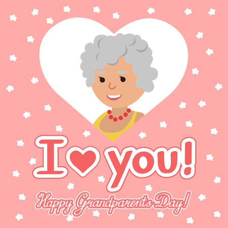 felicitation: Happy grandparents day. Elderly woman in heart with lettering. Vector illustration for greeting. Illustration
