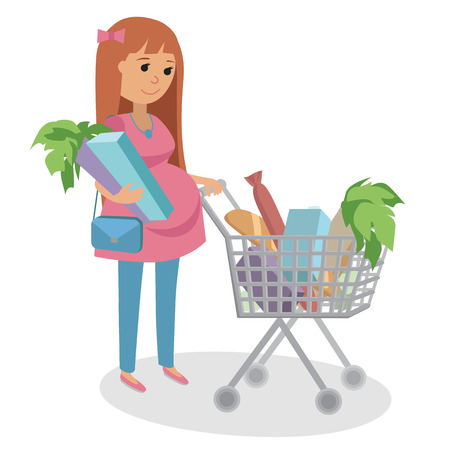 happy pregnant: Happy Pregnant woman pushing shopping cart full groceries. Illustration