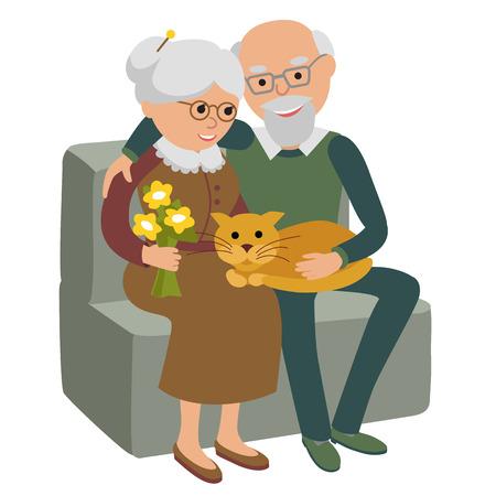 Sociale concept van senior mensen paar zittend op de bank en rust