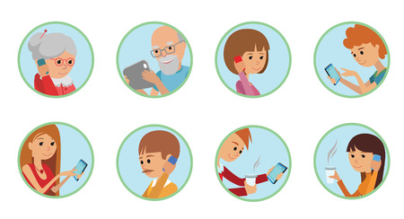 Family vector illustration flat style people faces online social media communications. Man woman parents grandparents with tablet phone round set isolated white background. Illustration