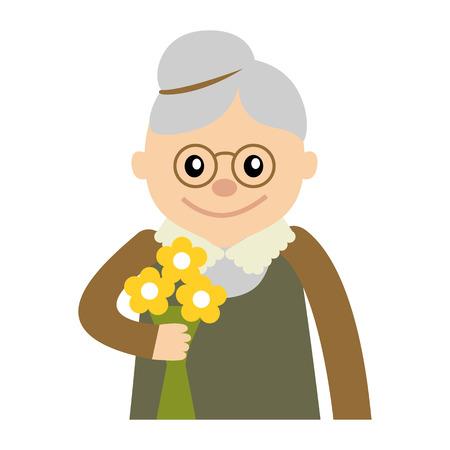 cartoon: Senior cute woman head flat icons. Isolated avatar on white background