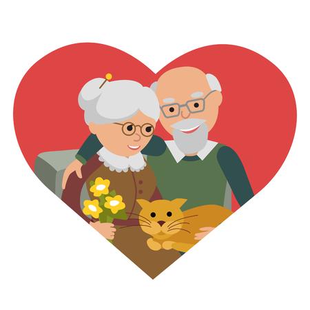Sociale concept van senior mensen paar. Vector illustratie in heartisolated witte achtergrond.