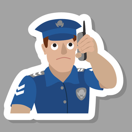 constable: Vector illustration of policeman talking on a mobile phone isolated on white background. Portrait in flat style.