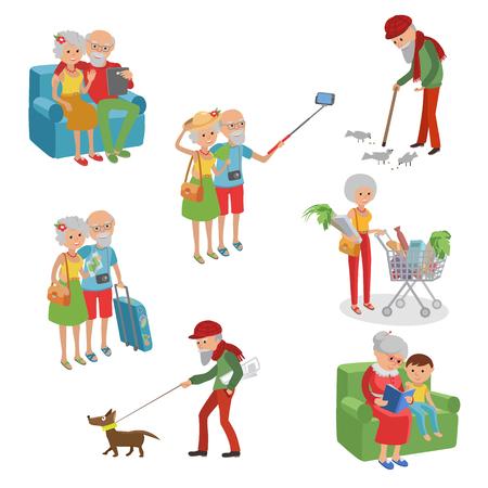 Vector set tekens in een vlakke stijl. Stripfiguren ouderen. Grootmoeders grootvaders in andere situatie.