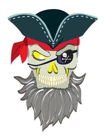 carribean: Danger pirate skeleton in bandane vector portrait.