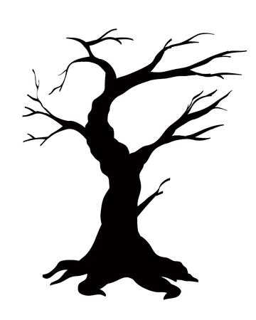 나무 검은 실루엣 흰색 배경에 고립 된 일러스트