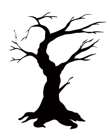 Tree black silhouette isolated on white background