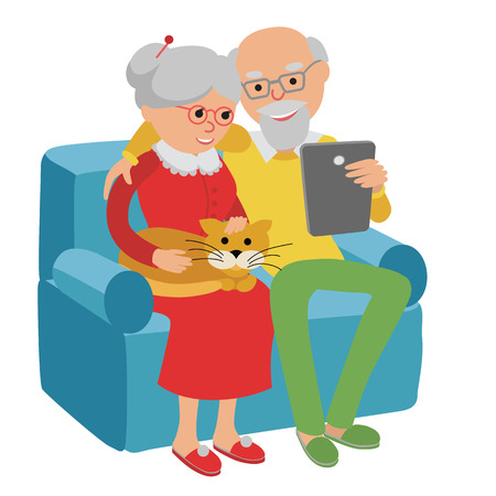 esp: Happy senior man and woman sitting on the sofa read e book and rest. Illustration
