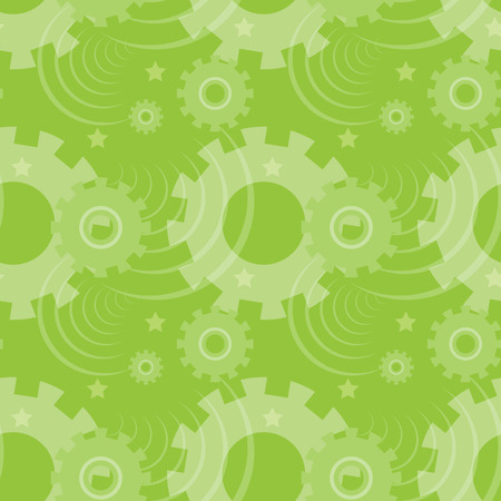 ongoing: Vector ongoing pattern with green gears. Creative geometric background with wheels.